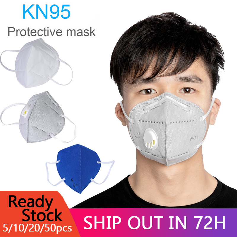 20/10PCs KN95 Folding Valved Dust Mask PM2.5 Anti Formaldehyde Bad Smell Bacteria Proof Face Mouth Masks Anti Coronavirus
