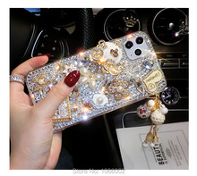 Sıcak altın çanta Bling kristal külkedisi arabası kılıfları Samsung Galaxy A50 A70 A40 A10 A20E A30S A21S A01 A31 a41 A51 A71 5G
