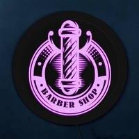 Vintage Barber Shop Pole LED Neon Sign Lighting Hair Salon Custom Business Brand Logo Opening Sign Rounded Wall Hanging Light