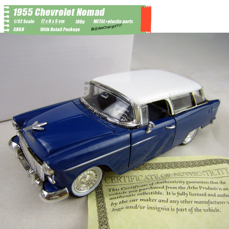 ARKO 1/32 Scale Classic Car Series 1955 <font><b>Chevrolet</b></font> Nomad Diecast Metal Car Model Toy For Gift,Kids,Collection image