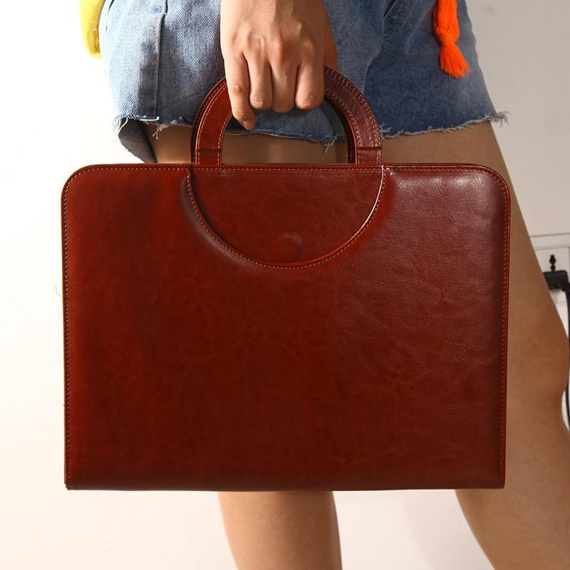 Document File Folder Bags Portable A4 PU Leather Portfolio Calculator Multifunction Zipper Office School Supply Business Notepad