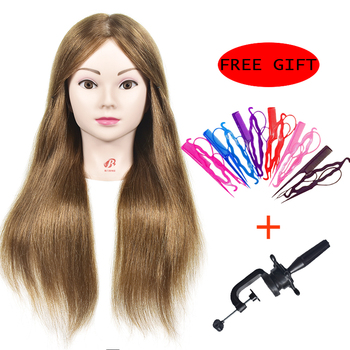 Mannequin Head With 100% Human Hair Mannequin Training Head Hairdressing Training Heads with Real Hair Display Dolls 100% real human hair head dolls for hairdressers 16 brown training head professional mannequin with small clamp can be curled