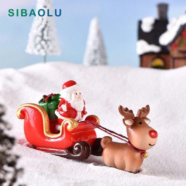 Christmas Santa Claus Sled Deer Tree Figurine Doll House home decor miniature fairy garden decoration accessories modern statue 1