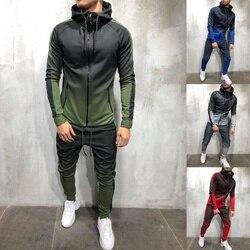 ZOGAA мужской спортивный костюм, комплект из 2 предметов, 3D градиент цвета, Повседневная Толстовка с капюшоном и штаны, спортивная одежда для б...