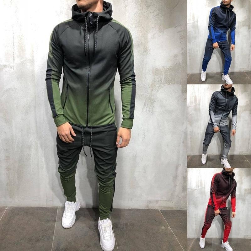 ZOGAA Men Tracksuit 2 Piece Set 3D Gradient Color Casual Hoodies Sweatshirt And Pants Sportswear Joggers Men Sets Sweatsuits