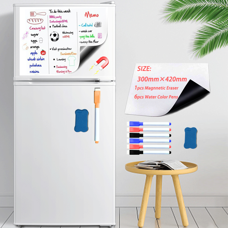 Soft Fridge Stickers Size 300*420mm Magnetic Whiteboard For Kids Dry Eraser White Board School Memo Boards Message Board