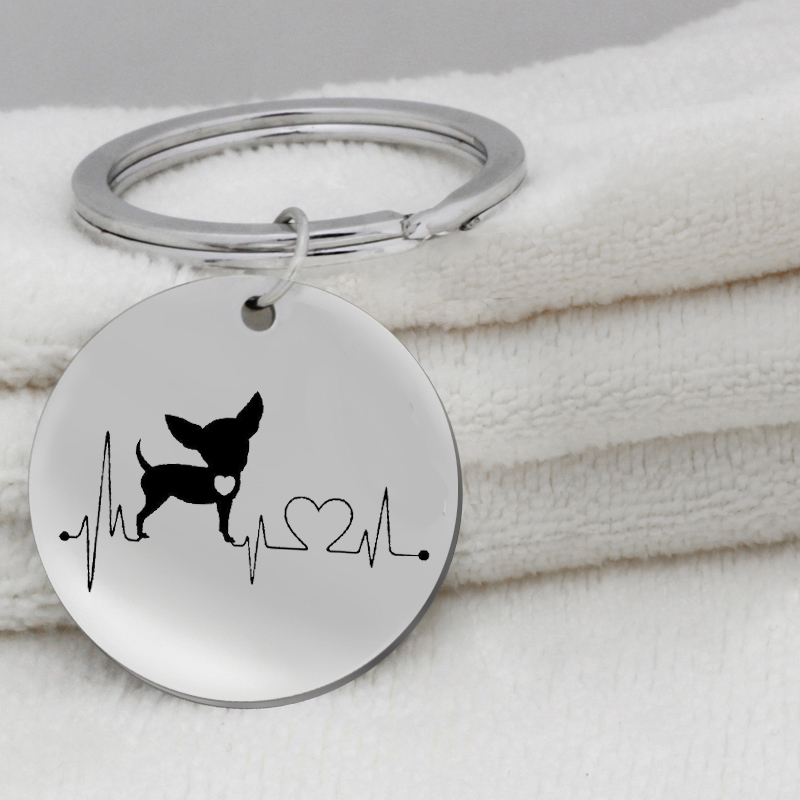 Heartbeat Chihuahua Bulldog Dachshund Bull Terrier KeyChain Jewelry Cute Puppy Dog Key Ring