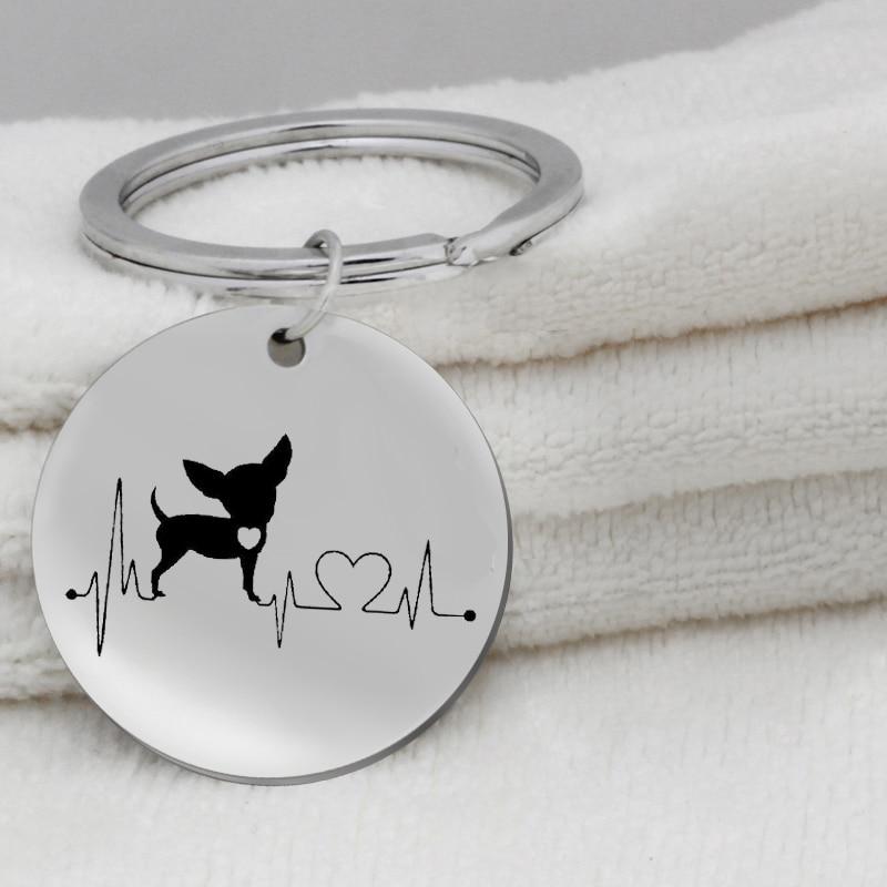 Heartbeat Chihuahua Bulldog Dachshund Bull Terrier KeyChain Jewelry Cute Puppy Dog Key Ring