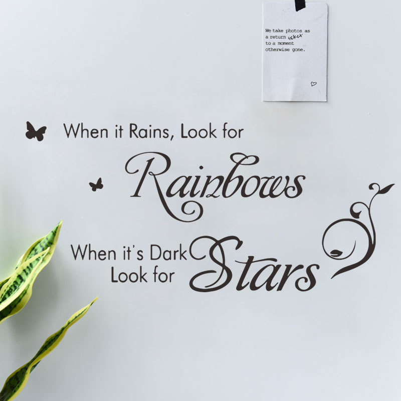 Rianbows Stars English Inspirational Wall Stickers Living Room Bedroom Decoration Wallpaper Sofa Background Stickers Home Decor