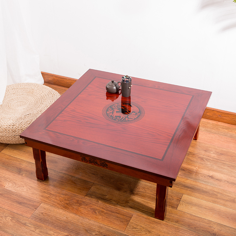 Square 80X80cm Korean Floor Table Folding Kaki Mewah Antik Rumah Meja Perabot untuk Makan Tradisional Korean Low Table