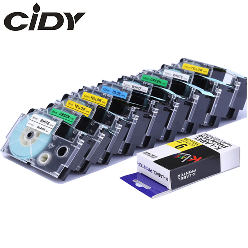 CIDY Multicolor Casio XR-12WE XR-9WE XR-18WE XR-12RD XR-12YW XR-9YW/18YW Compatible For KL-60 KL-60SR KL120 EZ Label Maker