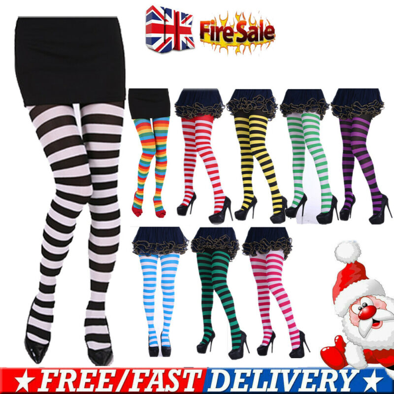 Women Girl Elf Xmas Bee Striped Colourful Pantyhose Tights Costume Stockings