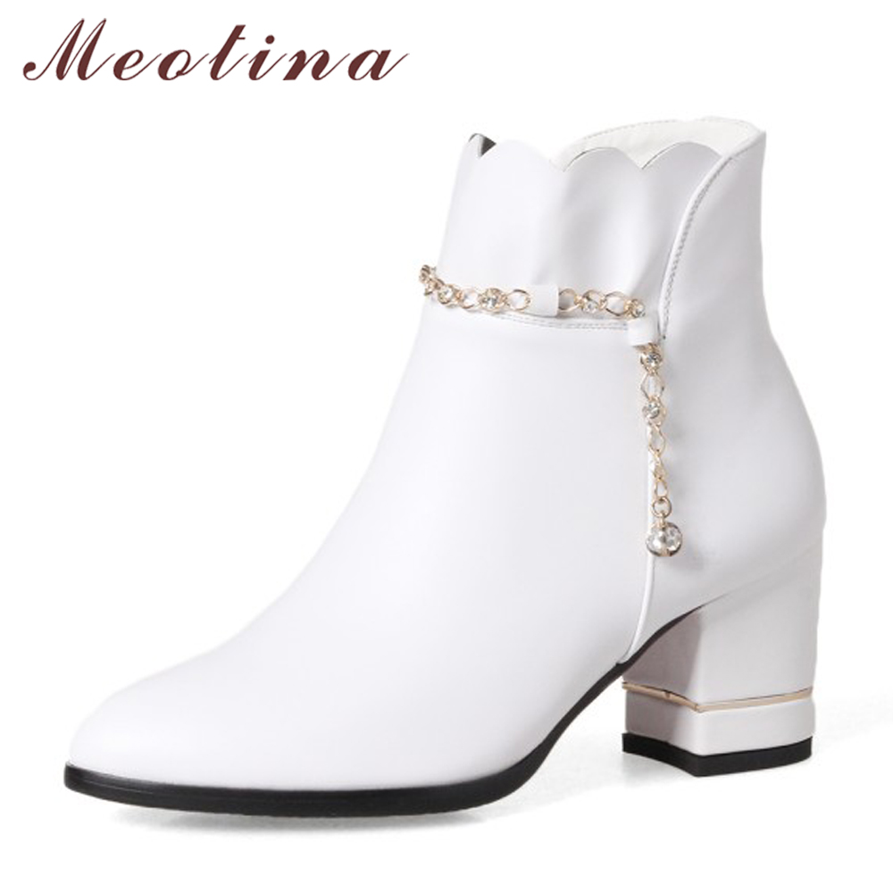 Meotina Winter Women Boots Crystal Ankle Boots Zip Ruffles Chunky High Heel Boots Female Lady Autumn Shoes Size 33-43 Red White