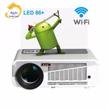 Poner Saund LED86 + WIFI 5500 Lumens Protector 1080 P HDMI วิดีโอ LED โปรเจคเตอร์ Android 6.0 HD LED 3D สมาร์ทโปรเจคเตอร์