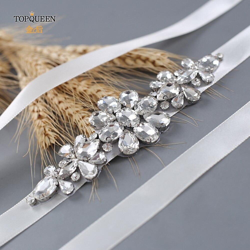 TOPQUEEN  Wedding Bridal Belt Silver Silver Wedding Dress Belt Handmade Bridal Belt Beaded Applique Designs Bridal Belt S45