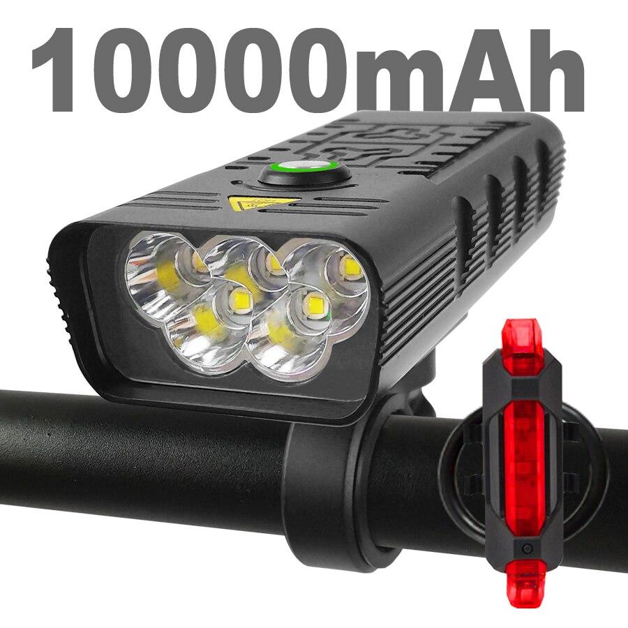 10000Mah Fiets Licht Usb Oplaadbare 3000 Lumen Fiets Koplamp 5T6 Led Super Heldere Zaklamp Koplampen En Back Rear licht