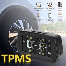Monitor de medidor de presión de neumáticos de automóviles, Sistema de control de presión de neumáticos TPMS para camión Solar con 6 sensores externos