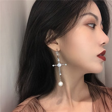 cross Flash  zircon pearl earrings asymmetric earring korean drop jewelry rhinestone