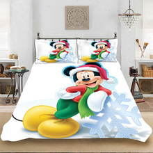Christmas Mickey Snow King-Full Size Soft Bedding set Bedclothes Include Duvet Cover Pillowcase Print Home Textile Bed Linens