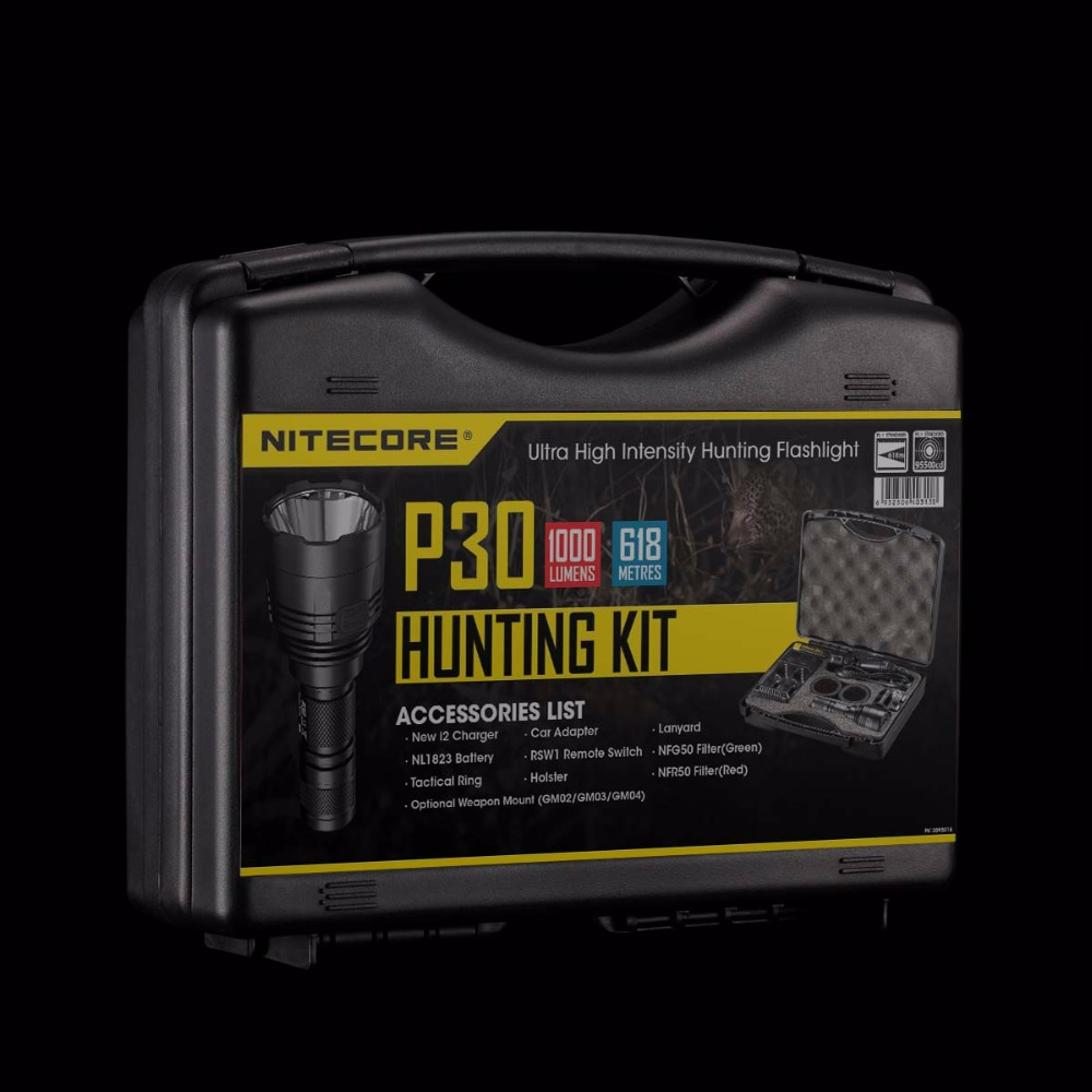 Discount NITECORE 1000 LMs CREE LED P30 HUNTING KIT Tactical Ultra High Intensity Search Flashlight Lantern BoxSet Free Shipping