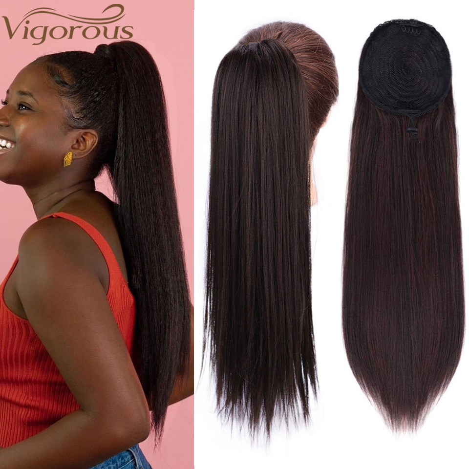 Vigorous Synthetic Kinky Straight Ponytail Hair Extensions 22 Inches Drawstring Afro Yaki Ponytail Hair Pieces For Women
