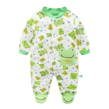 Baby Rompers Newborn Boy Cotton Cartoon 0-12 Months Foot Cover Jumpsuit for Spring Infant Clothing