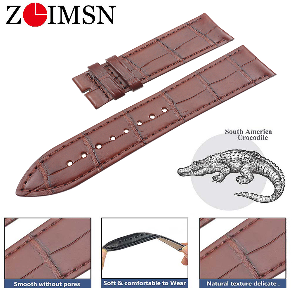 ZLIMSN Genuine crocodile leather Watch Band Custom 21mm For Jaeger-LeCoultre men's and women's watches bracelet