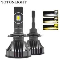 YOTONLIGHT H1 Led פנס H7 H4 כפולה צבע H11 Led הנורה 9005 9006 HB3 HB4 120w 12000lm 6500K 3000K 4500K