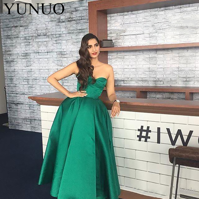 Saudi Arabic Women Green Evening Dresses 2018 Simple Elegant Sweetheart Ankle Length Formal Party Dresss New (5)_副本