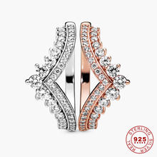 925 Sterling Silver Clear CZ Ring Rose Gold Color Princess Wishbone Ring for Women V Shape Engagement Jewelry Promise Ring