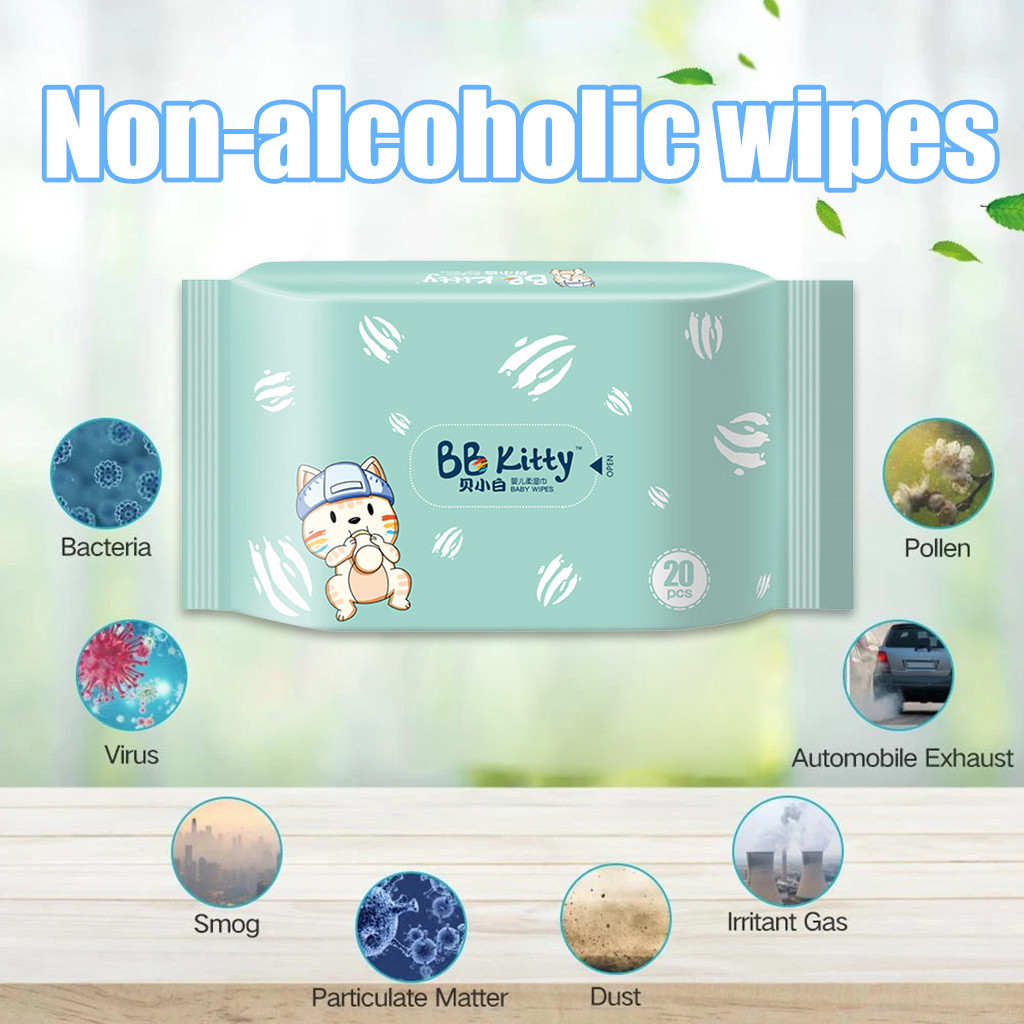 Antibacterial Wet Wipe Tissue Clean Hand Health Care 20 Wipes/Pack Alcohol Wet Wipe Disposable Disinfection