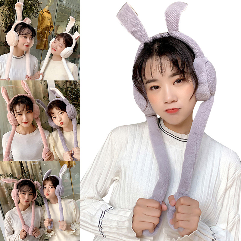 2019 Foldable Rabbit Ear Plush Earmuffs Animal Girl Cute Women Earmuffs Warm Can Move Airbag Magnet Cap Plush Dance Rabbit Ear