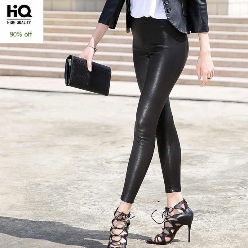 คุณภาพสูงผู้หญิงกางเกง Skinny สีดำแฟชั่นของแท้หนังกางเกงหญิง Streetwear SLIM FIT กางเกงดินสอ
