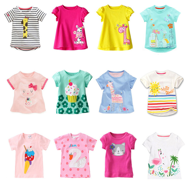 Kids Girl T Shirt Summer Baby Cotton Tops Toddler Tees Clothes Children Clothing Cartoon T-shirts Short Sleeve Casual Wear 1