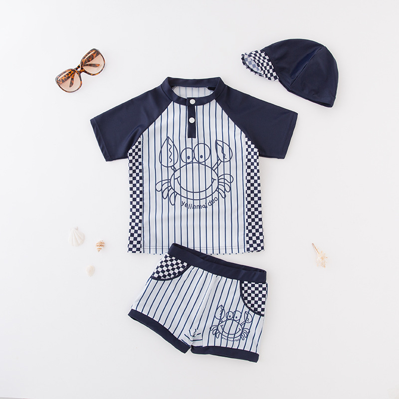 KID'S Swimwear Boy Split Swimsuit Black And White Stripes Crab Swimwear Beachwear Spa Resort Tour Bathing Suit