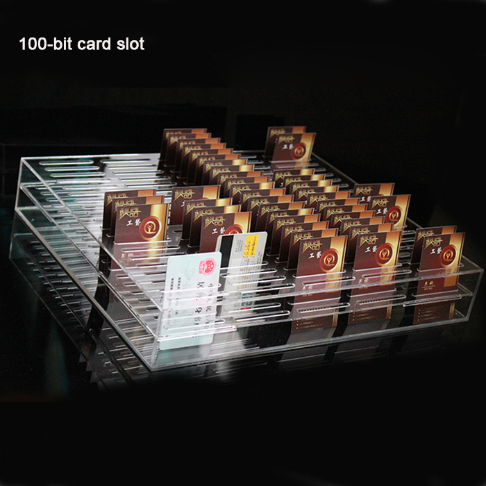Customized 100-Bit Acrylic Clear Businesscard Display Case Stand Namecard Organizer Box Price Credit Card Holder Tray