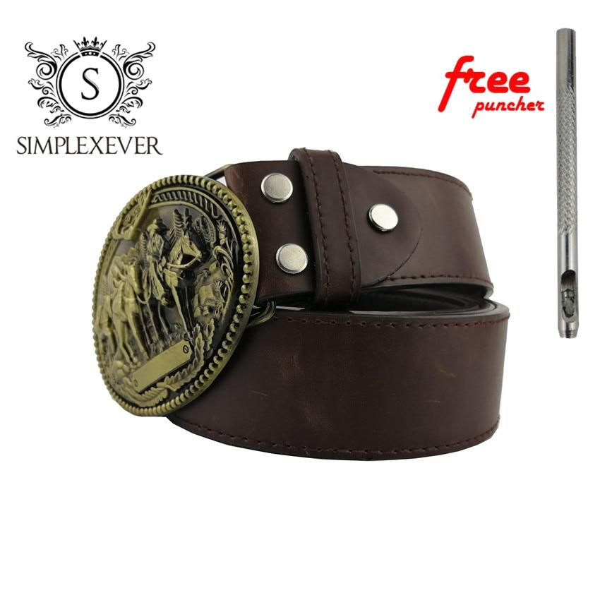 Cowboy Belt Buckle Fashion Brass Belt Buckles For 4cm Wide Belt Men Jeans Accessories Metal Men's Belt Buckles