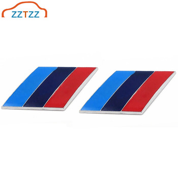 2Pcs/Pair 3D Metal Tricolor Car Body Side Rear Trunk Emblem Badge for ALL Models BMW X1 X3 X5 X6 1 3 5 6 7 Series image
