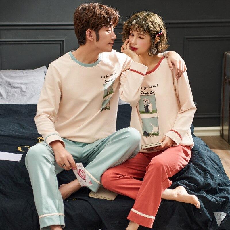 Lovers Pajamas For Men Full Sleeve Cotton Pijama Couple Pajamas For Women Cartoon Sleepwear Sets Winter Pijama Mujer XXXL