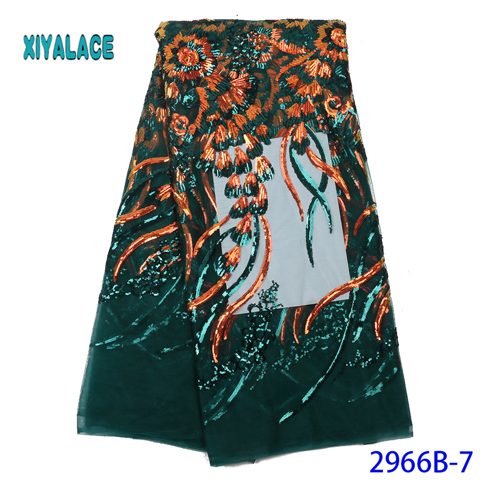 Latest Green Color Sequins African Lace Fabric 2019 High Quality French Tulle Lace Swiss Lace Fabric For Woman Dresses YA2966B-7