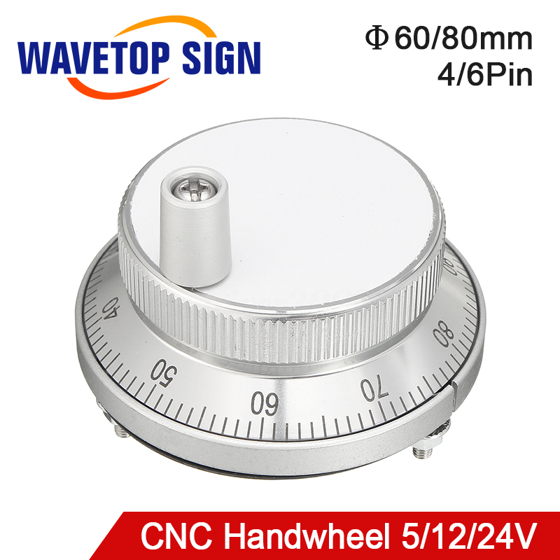 Free Shipping CNC Pulser Handwheel 5V 6Pin Pulse 100 Manual Pulse Generator Hand Wheel CNC Machine 60mm Rotary Encoder
