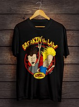 RARE Beavis and Butthead T-Shirt Gray Vintage Breakin The Law.8 Cartoon T Shirt Men Unisex New Fashion T Shirt Loose Top Tee(China)