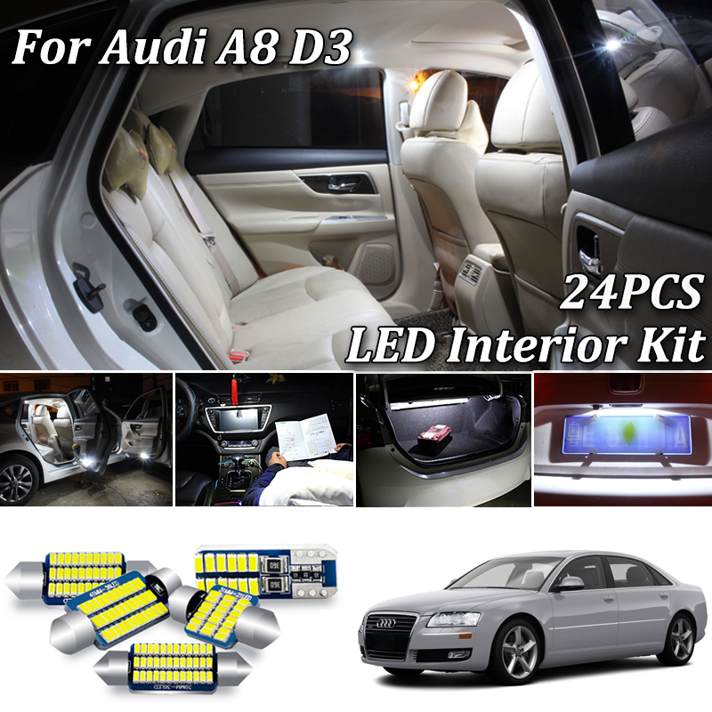 24Pcs Canbus No Error White <font><b>LED</b></font> Car Interior Light Kit For <font><b>Audi</b></font> <font><b>A8</b></font> S8 <font><b>D3</b></font> 4E <font><b>LED</b></font> Interior Dome Map Light Kit (2003-2010) image