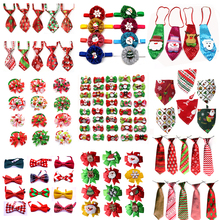 50pcs Christmas Pet Products Dog Bows Cat Bow Tie Bandana for Holiday Small Grooming Accessories  Large Supplies