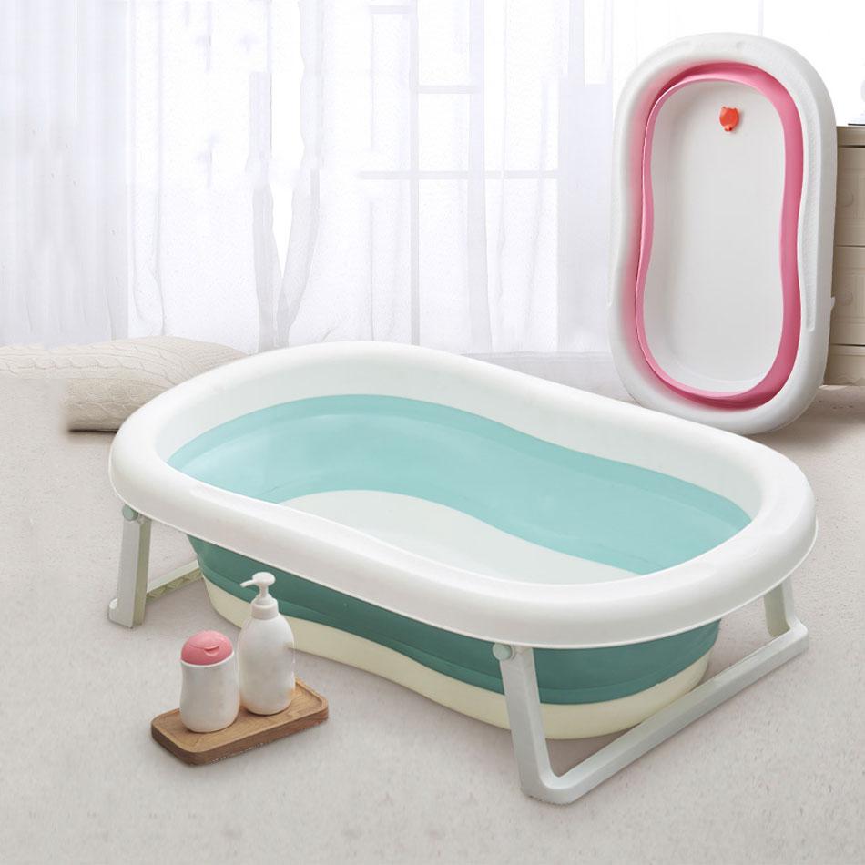 Easy Folding Baby Bath Tub Foldable Baby Shower Tubs With Non-slip Cushion Eco-friendly Newborn Bathtub Adjustable Kids Bathtub