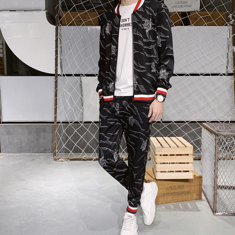 MaleJacket Male Tide Collocation Handsome A SetLeisure Time Motion Suit Male Fashion Printing Stripe Slim Fat Baseball Jersey