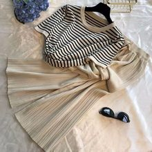 Short-sleeved Striped Round Neck Knitted Top Women High Waist Lace-up Solid Color Wide-leg Pants Sweater Set Female Spring 2020(China)
