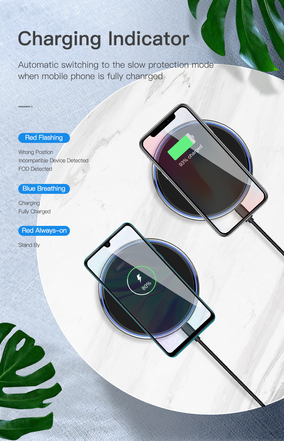estore kart electronics new arrival mobile accessories Mirror Wireless Charging Pad with charging indiacators