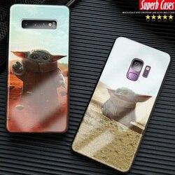 Bebê yoda bonito engraçado meme caso de telefone para samsung galaxy s8 s9 s10e s10 s20 ultra nota 8 9 10 plus capa de vidro silicone escudo