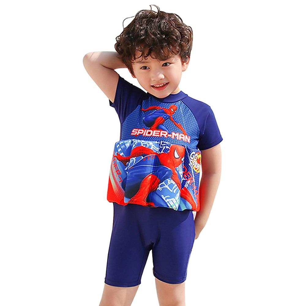 Цельный костюм для мальчиков плавучий купальник для детей с короткими рукавами, плавающий купальник для детей от 1 до 7 лет, детский купальны...